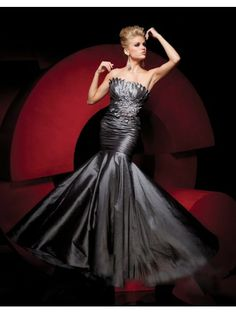 Taffeta Mermaid Strapless Scalloped Empire Prom Dress