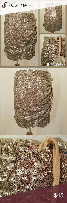 "NWT: Chelsea & Violet sequin skirt Champagne color sequins all around, elastic waist, no zippers or hooks.  17"" skirt Chelsea & Violet Skirts Mini"