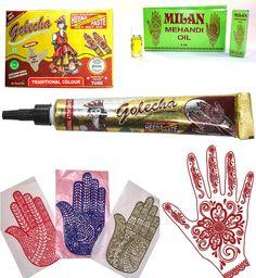 Henna-Set Mehandi Schablonen + Golecha Paste - Tube rot á 25g + Mehandi Öl 4 ml