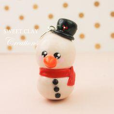 Christmas Snow Man Charm Polymer Clay Handmade Jewelry by Sweet Clay Creations