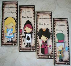 ALICE in WONDERLAND  Set of 4 Bookmarks  by PaintedByRenee on Etsy, $16.00