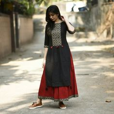 Buy RustOrange Red & Black Cotton Solid Straight Kurti online in India at best price. When it comes to fusion, this styles makes a mark.The perfect combination of cut, Block print and de Pakistani Dresses, Indian Dresses, Indian Outfits, Kurta Patterns, Dress Patterns, Salwar Designs, Blouse Designs, Indian Attire, Indian Wear
