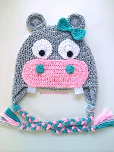 Happy Hippo Crochet Hat newborn-xl adult by KnotSewCuteDesigns