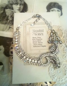 Vintage Rhinestone Brooch and Glass Bead Statement Necklace. My shop via Etsy.