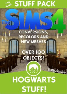 The Sims 4: Hogwarts Stuff (part 1 of 3 Harry Potter CC packs)It's finally here, Hogwarts Stuff! I know you are all excited and I sincerely hope you enjoy these items as much as I enjoyed making them....