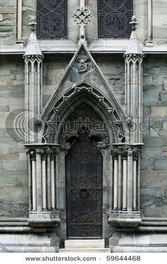 Historic Gothic door on a cathedral in Trondheim Norway