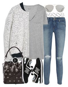 """""""Untitled #3394"""" by hellomissapple ❤ liked on Polyvore featuring Paige Denim, Madewell, MANGO, Christian Dior, ASOS, Yves Saint Laurent, New Balance, Christian Van Sant, women's clothing and women"""