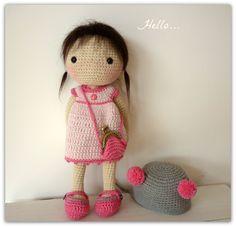 Amigurumi Crochet Doll Aya by Rusi Dolls por RusiDolls en Etsy ♡ Más Amigurumi Patterns, Amigurumi Doll, Doll Patterns, Knitted Dolls, Crochet Dolls, Crochet Hats, Crochet Doll Pattern, Bunny Love, Tricot