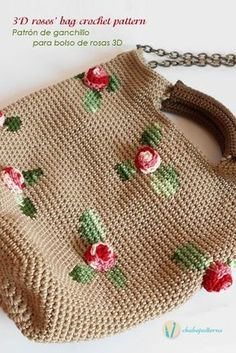 crochet bag Combine your skills, practice tapestry crochet to draw the leaves and then make some roses out of simple crochet stitches. You'll make a fashionable two handle bag with beautiful volume. And use shaded yarn for a more natural effect. Gilet Crochet, Bag Crochet, Crochet Handbags, Crochet Purses, Crochet Stitches, Crochet Hooks, Tapestry Crochet Patterns, Crochet Symbols, Knitted Bags