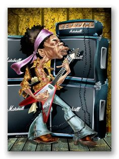 The Pianist art print available at It's A Black Thang. Jimi Hendrix, Arte Bar, Goofy Face, Celebrity Caricatures, Wonder Woman, Princess Zelda, Fine Art Prints, Superhero, Celebrities