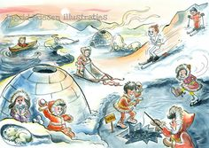 Eskimo's praatplaat Polo Norte, Tove Jansson, North Pole, Winter Activities, Winter Theme, Winter Scenes, Christmas Pictures, Animal Drawings, Folk Art