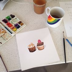 Painting my first cupcake watercolor... FOR love. #wip
