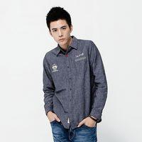 【江戶勝系列】EDWIN 拼格繡花 長袖棉麻襯衫-男款 丈青色