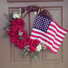 Patriotic grapevine wreath with red hydrangeas and removable flag $65