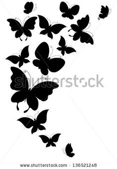 Mariposas Vectores en stock y Arte vectorial Butterfly Images, Butterfly Design, Butterfly Stencil, Butterfly Drawing, Butterfly Pattern, Stencils, Stencil Art, Diy Wall Painting, Fabric Painting