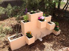 Cinder block garden with a southwest style! #bonfireburritos #foodtruck #newpatio