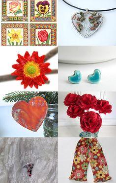 Hearts and Flowers by #Grandmasandeze #Maine #MaineTeam #etsyTreasuries #Treasuries #PatriciaSheaDesigns - those are my flowers top left :)