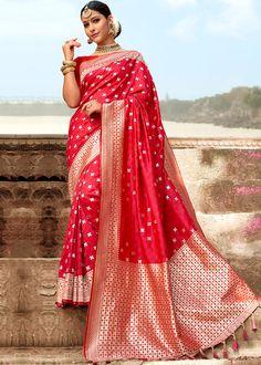 Red Art Silk Woven Bridal Saree With Blouse Net Saree, Georgette Sarees, Silk Sarees, Indian Designer Sarees, Indian Sarees, Blouse Online, Sarees Online, Wrap Around Skirt, Looking Gorgeous