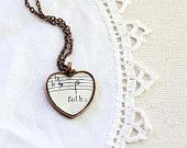 Folk sheet music jewelry heart necklace pendant charm made with vintage sheet music under glass back to school gift