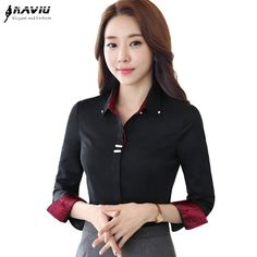 e8ac33b9e4ab76 Fashion clothes OL women long sleeve shirt black white slim Patchwork  Sequined cotton blouse office ladies