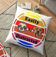 Vibrant double-sided print floor pillows are a versatile seating or lounging option that will update any room @paradisfaa @thehappysloths #sloths #dogs Sloths, Home Decor Items, Floor Pillows, Vibrant, Dogs, Artist, Design, Pet Dogs, Artists