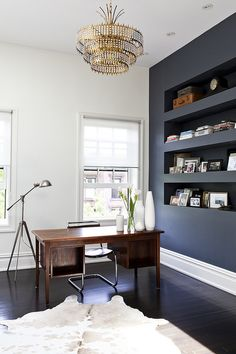 dark wall - love the ceiling lamp