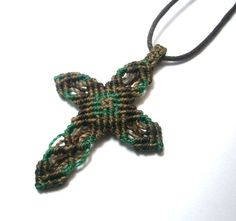 Cross macrame/Macrame jewelry/ Micromacrame by Ancientmacrame