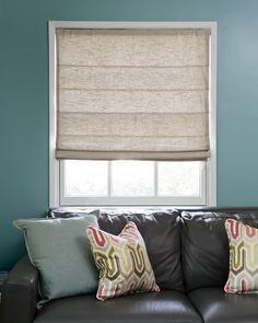 "Flat Roman Fabric Shades - 16399, 22"" Tailored Square Pillow - 16018"