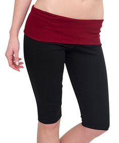 Love this Black & Maroon Fold-Over Capri Leggings - Women & Plus by Magid on #zulily! #zulilyfinds