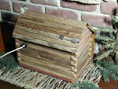 Primitive Handmade Log Cabin with Inside Light 7