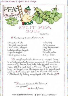 Split Pea Soup from Susan Branch Cooking Websites, Cooking Tips, Cooking Recipes, Old Recipes, Vintage Recipes, 1950s Recipes, Susan Branch Blog, Chili Soup, Recipes