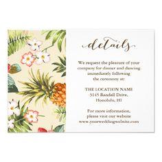 Tropical Leaves Pineapple Hawaiian Wedding Details Card