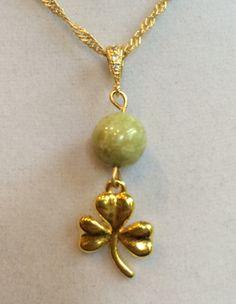Celtic Gold Shamrock and Connemara Marble Necklace by joytoyou41