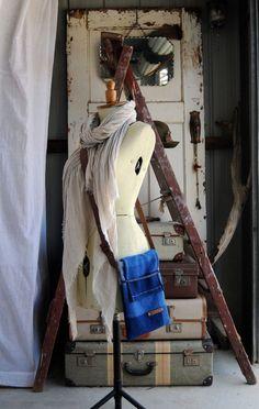 Repurposed Blanket Mini Messenger Tote in Deep by ByMarieNicole
