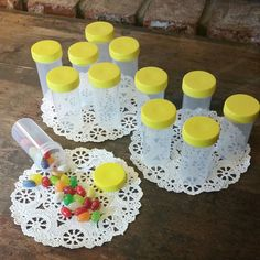 20 PILL JARS YELLOW Screw Caps Container Bottles Vial Party Candy 3814 DecoJars