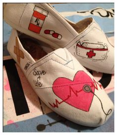 Nursing Custom Toms Shoes by CustomTOMSbyJC on Etsy, $95.00 I'd love to get these as a grad present! <3 lol