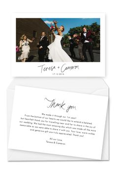 10 Wording Examples for Your Wedding Thank You Cards - Wedding Thank You Cards Message Wedding Thank You Card Wording She Takes Picture She Makes Films - Wedding Thank You Messages, Wedding Thank You Cards Wording, Print Thank You Cards, Thank You Card Design, Photo Thank You Cards, Thank You Card Template, Thank You Postcards, Thank You Notes, Thank You Gifts