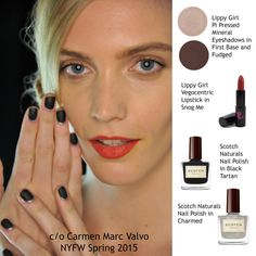 Get this poppy red lip from the Carmen Marc Valvo NYFW Spring 2015 runway with Snog Me Vegocentric Lipstick! Pair with our Pi Pressed shadows in Fudged and First Base and SCOTCH Naturals @scotchnaturals polish in Black Tartan and Charmed to complete the look.