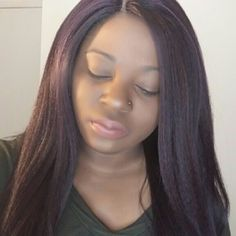 Straight lace front wig Synthetic and dark red wig Other