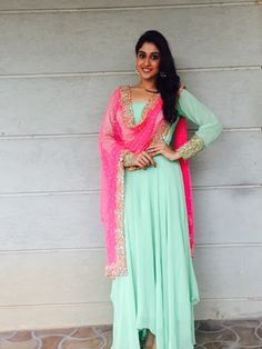 Actress Regina Cassandra Spotted Wearing an Anarkali by Peppermint Diva