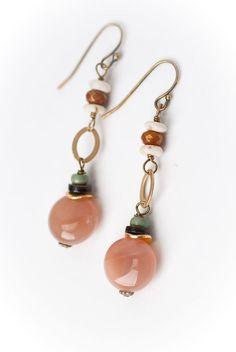 9eecda21087b70 Sandalwood Collection - Unique handmade moonstone organics gemstone antique  brass dangle earrings for women are made