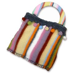 KnitWhits - Knitting Patterns and Kits - Marit Striped Felted Purse with Bobbles