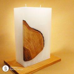 Holz und Wachs - ein Materialmix der besonderen Art! So können unsere Holzteilkerzen zu Ihrer einzigartigen Hochzeitskerze werden...