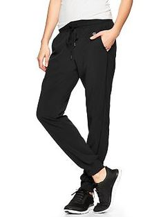 {RETURNED: thought these were of thicker material. They are very very thin...almost like silk. Not going to do well for Fall wear in MN} Fall 2014  GapFit stripe-panel pants in (M) true black $49.95