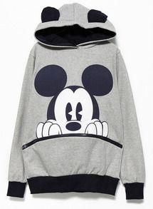 Grey Black Long Sleeve Mickey Hooded Sweatshirt US$14.99