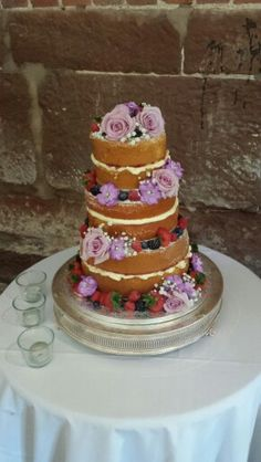Naked 3 tier victoria sandwich wedding cake