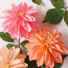 Solo vástago papel Dahlia - papel flores de papel aniversario - 1er aniversario - Flores - papel Decor - Crepe papel flores de papel
