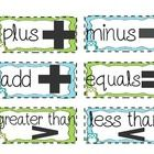 Word wall word cards.  Use to create a math word wall in your classroom so students can remember math word meanings.  Color and black and white.  ~...