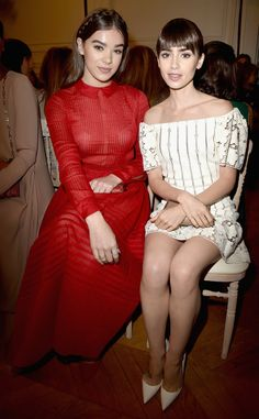 Hailee Steinfeld & Lily Collins from The Big Picture: Today's Hot Pics  The actresses attend the Valentino show as part of the Paris Fashion Week.
