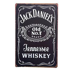 WINXON Nostalgisch Vintage Retro Blechschild Wand Deko Schilder Wand Poster Plaque Rostig Stil Metall 20*30cm Bar Caf� Dekoration Alkohol Soda Getr�nke Whisky Vodka Schwarz DEP-164
